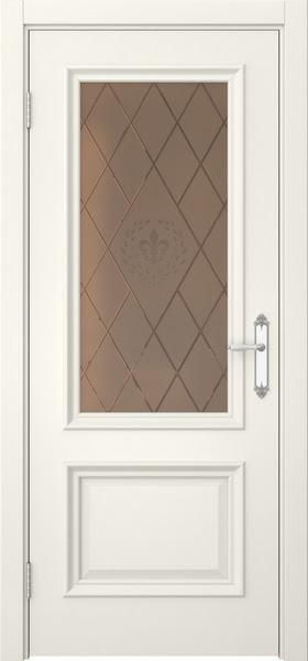 Межкомнатная дверь SK006 (эмаль слоновая кость / стекло бронзовое с гравировкой)