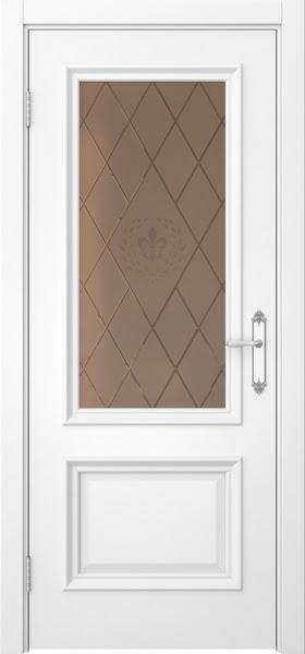 Межкомнатная дверь SK006 (белая эмаль / стекло бронзовое с гравировкой)