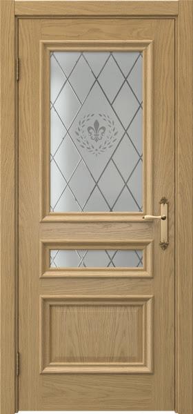 Межкомнатная дверь SK007 (натуральный шпон дуба / стекло с гравировкой)
