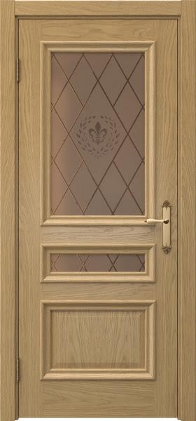 Межкомнатная дверь SK007 (натуральный шпон дуба / стекло бронзовое с гравировкой)