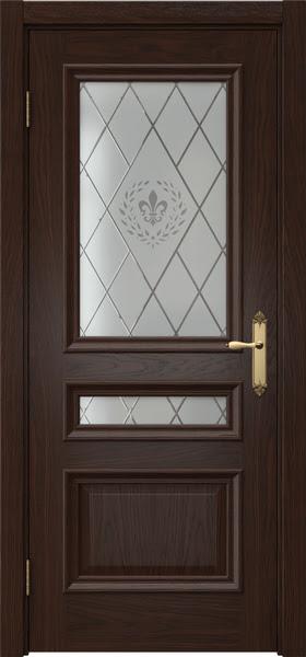 Межкомнатная дверь SK007 (шпон дуб коньяк / стекло с гравировкой)