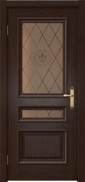 Межкомнатная дверь SK007 (шпон дуб коньяк / стекло бронзовое с гравировкой)