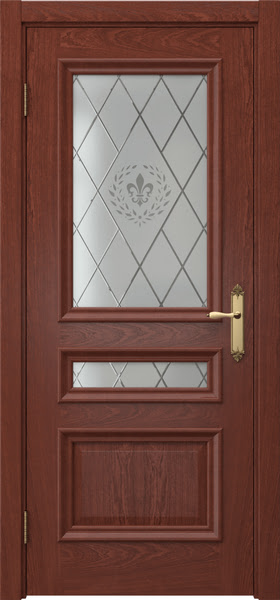 Межкомнатная дверь SK007 (шпон красное дерево / стекло с гравировкой)