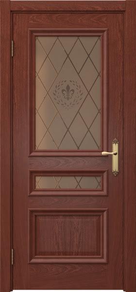 Межкомнатная дверь SK007 (шпон красное дерево / стекло бронзовое с гравировкой)