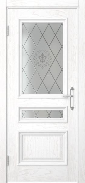 Межкомнатная дверь SK007 (шпон ясень белый / стекло с гравировкой)
