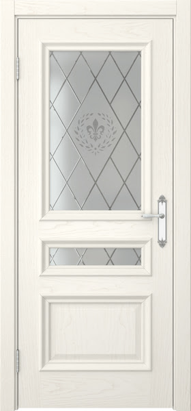 Межкомнатная дверь SK007 (шпон ясень слоновая кость / стекло с гравировкой)