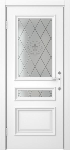 Межкомнатная дверь SK007 (белая эмаль / стекло с гравировкой)