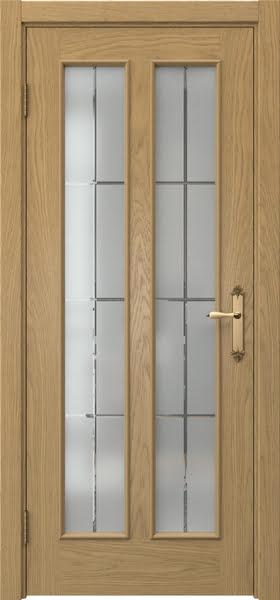 Межкомнатная дверь SK008 (натуральный шпон дуба / стекло решетка)
