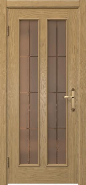 Межкомнатная дверь SK008 (натуральный шпон дуба / стекло бронзовое решетка)