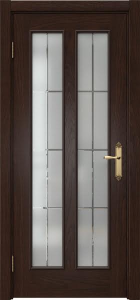 Межкомнатная дверь SK008 (шпон дуб коньяк / стекло решетка)