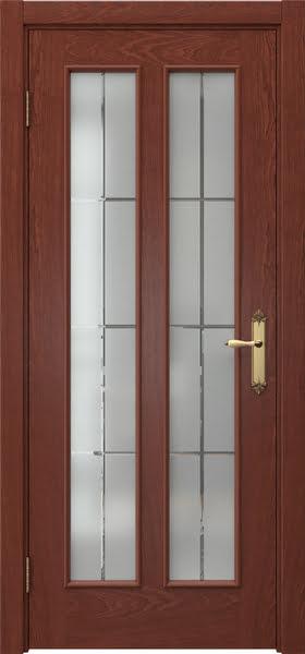 Межкомнатная дверь SK008 (шпон красное дерево / стекло решетка)