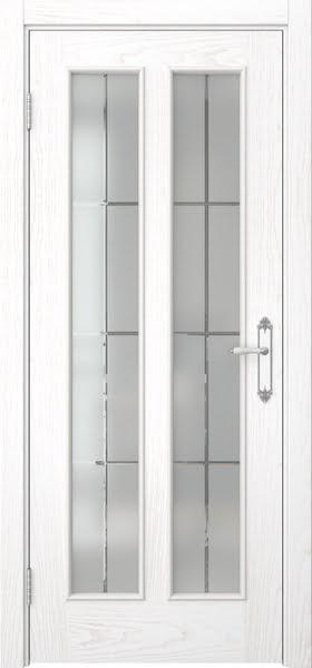 Межкомнатная дверь SK008 (шпон ясень белый / стекло решетка)