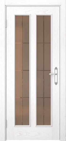 Межкомнатная дверь SK008 (шпон ясень белый / стекло бронзовое решетка)