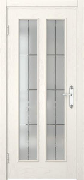 Межкомнатная дверь SK008 (шпон ясень слоновая кость / стекло решетка)