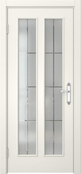 Межкомнатная дверь SK008 (эмаль слоновая кость / стекло решетка)