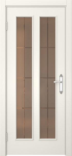 Межкомнатная дверь SK008 (эмаль слоновая кость / стекло бронзовое решетка)