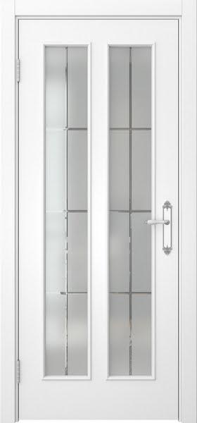 Межкомнатная дверь SK008 (белая эмаль / стекло решетка)