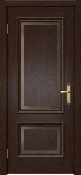 Межкомнатная дверь SK009 (шпон дуб коньяк / стекло бронзовое)