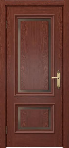 Межкомнатная дверь SK009 (шпон красное дерево / стекло бронзовое)