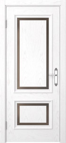 Межкомнатная дверь SK009 (шпон ясень белый / стекло бронзовое)