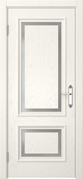 Межкомнатная дверь SK009 (шпон ясень слоновая кость / матовое стекло)