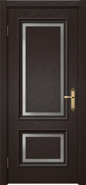Межкомнатная дверь SK009 (шпон ясень темный / матовое стекло)