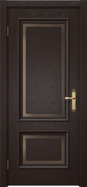 Межкомнатная дверь SK009 (шпон ясень темный / стекло бронзовое)