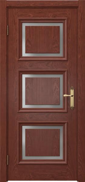 Межкомнатная дверь SK010 (шпон красное дерево / матовое стекло)