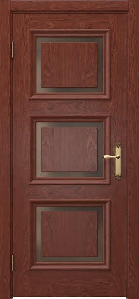 Межкомнатная дверь SK010 (шпон красное дерево / стекло бронзовое)