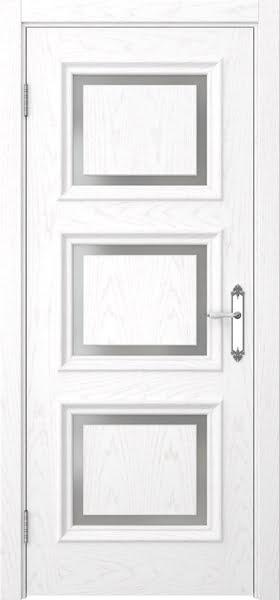 Межкомнатная дверь SK010 (шпон ясень белый / матовое стекло)