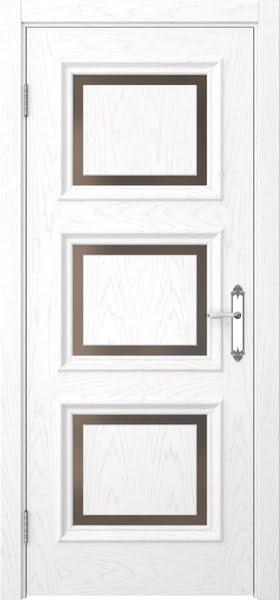 Межкомнатная дверь SK010 (шпон ясень белый / стекло бронзовое)