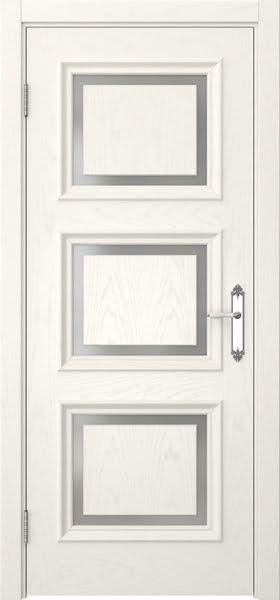 Межкомнатная дверь SK010 (шпон ясень слоновая кость / матовое стекло)