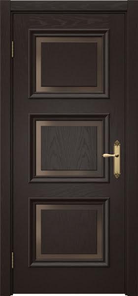 Межкомнатная дверь SK010 (шпон ясень темный / стекло бронзовое)