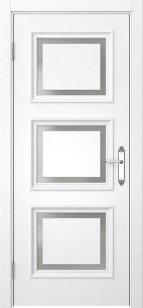 Межкомнатная дверь SK010 (белая эмаль / матовое стекло)
