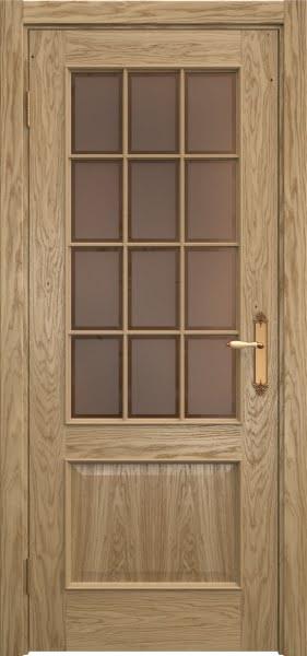 Межкомнатная дверь SK011 (натуральный шпон дуба / стекло бронзовое рамка)