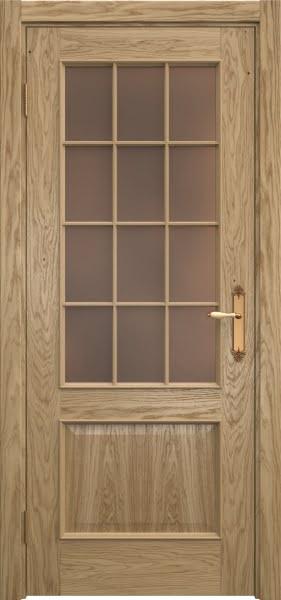 Межкомнатная дверь SK011 (натуральный шпон дуба / стекло бронзовое)