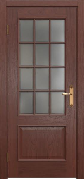 Межкомнатная дверь SK011 (шпон красное дерево / стекло рамка)