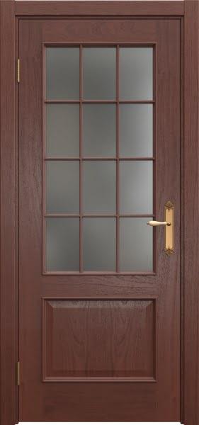 Межкомнатная дверь SK011 (шпон красное дерево / матовое стекло)