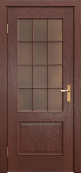 Межкомнатная дверь SK011 (шпон красное дерево / стекло бронзовое)