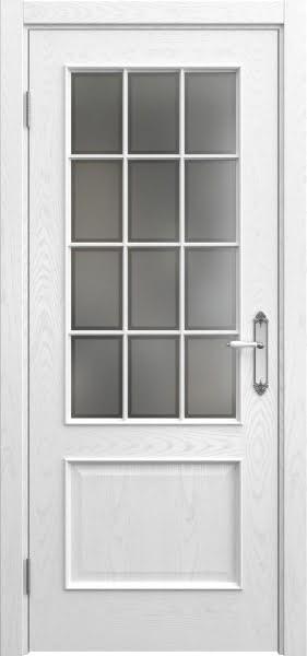 Межкомнатная дверь SK011 (шпон ясень белый / стекло рамка)