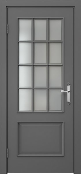 Межкомнатная дверь SK011 (эмаль серая / стекло рамка)