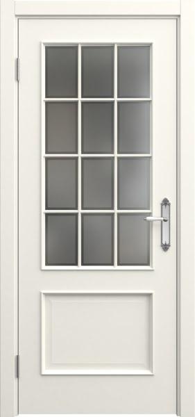 Межкомнатная дверь SK011 (эмаль слоновая кость / стекло рамка)