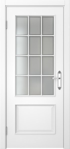 Межкомнатная дверь SK011 (эмаль белая / стекло рамка)