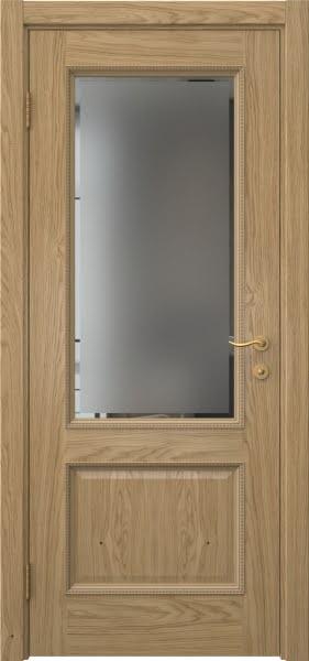 Межкомнатная дверь SK014 (натуральный шпон дуба / стекло с фацетом)