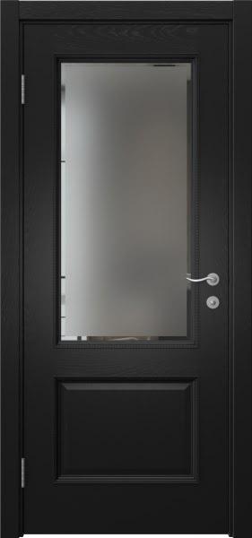 Межкомнатная дверь SK014 (шпон ясень черный / стекло с фацетом)