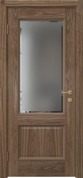 Межкомнатная дверь SK014 (шпон американский орех / стекло с фацетом)