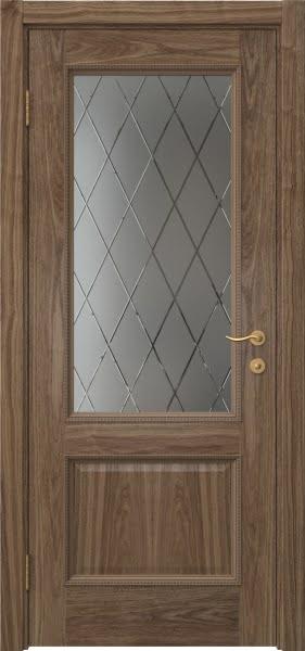 Межкомнатная дверь SK014 (шпон американский орех / сатинат ромб)