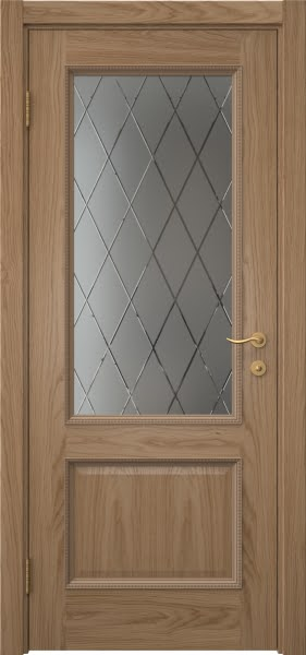 Межкомнатная дверь SK014 (шпон дуб светлый / сатинат ромб)