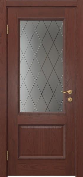 Межкомнатная дверь SK014 (шпон красное дерево / сатинат ромб)