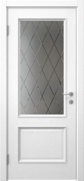 Межкомнатная дверь SK014 (шпон ясень белый / сатинат ромб)